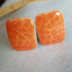 CLIP-ON CLASSIC Earrings ENAMEL ORANGE colors
